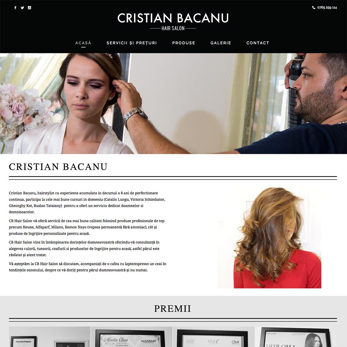 Creare site web, portofoliu - Cristian Bacanu Hair Salon
