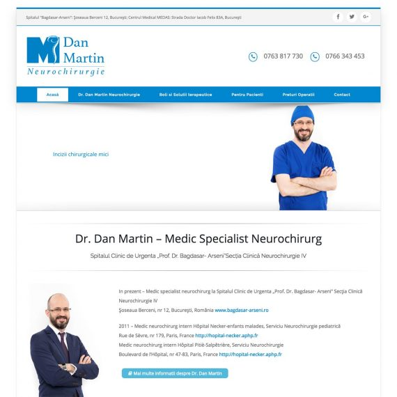 Creare site web, portofoliu - Dr. Dan Martin – Medic Specialist Neurochirurg