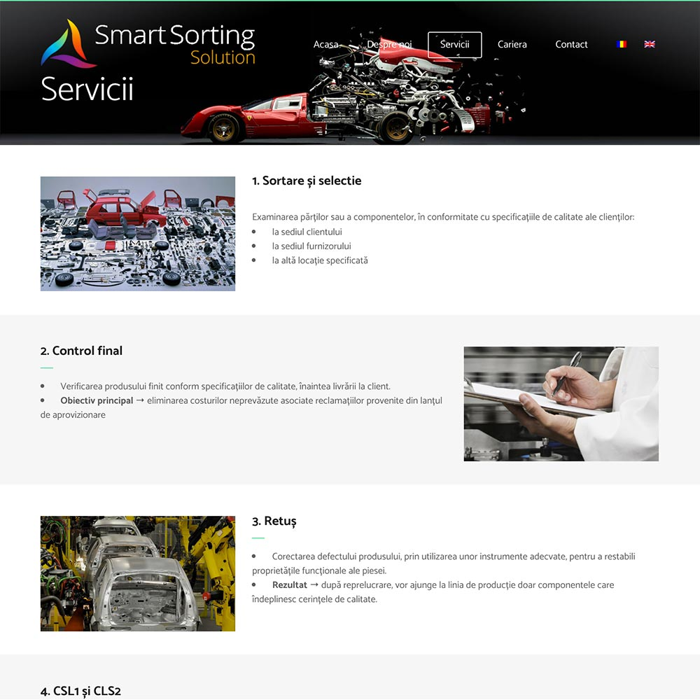 Creare site web, portofoliu - Smart Sortin Solution